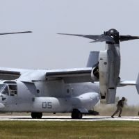 Heading this way: An MV-22 Osprey, the type of aircraft set to be deployed in Japan, is seen at a marine base in Cleveland on June 16.   AP / KYODO