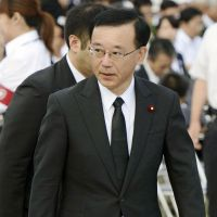 Liberal Democratic Party President Sadakazu Tanigaki attends the Hiroshima Peace Memorial Ceremony the same day.
