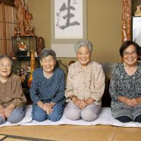 Crime fighters: Daughters of Gin Kanie — (from left)  Toshiko Yano, 98, Chitayo  Tsuda, 93,  Yuriko Sano, 91 and Mineyo Kanie, 88, want to speak out against fraud targeting the elderly. | KYODO