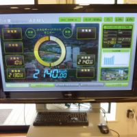 Power to the people: A monitor setup in Kashiwa-no-ha — a 'smart city' in Kashiwa, Chiba Prefecture — displays real-time data on electricity consumption, power generated by solar panels and power supply from the local utility. | KYODO