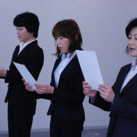 Shiga's angels?: Mami Uchida, Masako Kawada and Toshiko Fuse read the police officers' oath at a reinstatement ceremony at the headquarters of the Shiga Prefectural Police earlier this month.   CHUNICHI SHIMBUN