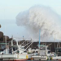 Huge waves caused by powerful Typhoon Jelawat hit breakwaters off a port in Kihocho, Mie Prefecture, on Sunday. | KYODO PHOTO