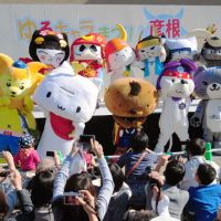 Cute and cuddly: A variety of 'yuru-kyara' mascots from across the country gather at an annual meeting in Hikone, Shiga Prefecture, last month. | KYODO