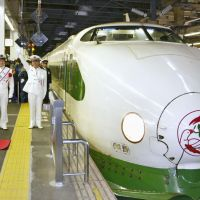 Time traveler: A 200-series bullet train in operation since the Joetsu Shinkansen Line opened in 1982 leaves JR Omiya Station in Saitama to mark the line's 30th anniversary Saturday. | KYODO