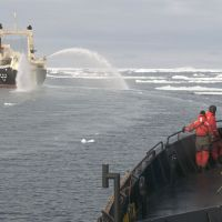 Harpooned hopes?: Sea Shepherd crew members view the whaling ship Nisshin Maru off the bow of their vessel, the Bob Barker, in the Southern Ocean in February 2011. | AFP-JIJI