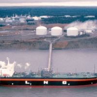 Critical supply line: A ship lies at anchor at a liquefied natural gas plant in Kenai, Alaska, that has been exporting the fuel to Japan for more than 30 years. | CONOCOPHILLIPS/BLOOMBERG