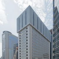 This sequence shows a 105-meter building being systematically razed in Tokyo last year using Taisei's eco-friendly Tecorep method. courtesy of taisei corp.