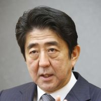 Talking points: Prime Minister Shinzo Abe is interviewed Thursday at the prime minister's office. | KYODO