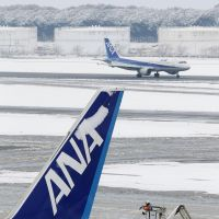 Taking off the chill: An airport worker removes snow Monday morning from an All Nippon Airways jet at Narita airport in Chiba Prefecture. | KYODO