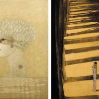 'Puppet Show, Bird' (left), a tempera painting by Yoshihiro Ushijima, who studied in Vienna from 1974 to 1982 under Austrian painter Rudolf Hausner, is on display at Shihoudou Gallery. Right: Sagamiya presents 'Life course in vernal days' by Yuji Murakami, who is exploring contemporary nihonga (Japanese painting). | YOSHIHIRO USHIJIMA, YUJI MURAKAMI