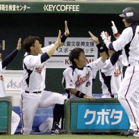 Join the fun: Samurai Japan players congratulate Kenta Kurihara (right) after his two-run homer in the third inning against Taiwan in an exhibition game on Saturday at Tokyo Dome. | KYODO