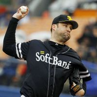 Saving the day: Hawks closer Brian Falkenborg has stepped in admirably for the injured Takahiro Mahara this year.   KYODO