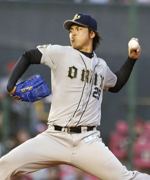 It's been a while: Buffaloes starter Kei Igawa pitches against the Eagles on Wednesday in Sendai. Igawa won for the first time since returning to Japan this year.   KYODO