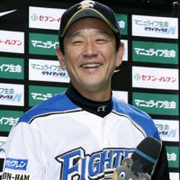 All smiles: Fighters manager Hideki Kuriyama guided the team to a series sweep over the Hawks. | KYODO