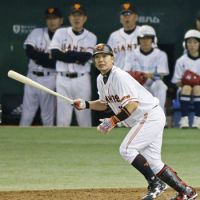 Mr. Dependable: Giants captain Shinnosuke Abe drives in a pair of runs in Yomiuri's 3-1 Game 4 victory over the Chunichi Dragons on Saturday at Tokyo Dome. | KYODO