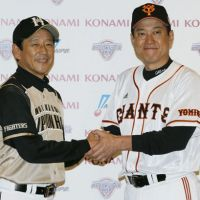 Men in charge: Fighters skipper Hideki Kuriyama and Giants manager Tatsunori Hara lead their respective teams into the Japan Series. | KYODO PHOTOS