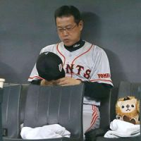 Tense moments: Giants skipper Tatsunori Hara saw his team lose its second straight game at Sapporo Dome on Wednesday. | KYODO