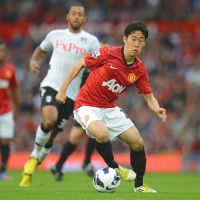 New frontier: Shinji Kagawa controls the ball during Manchester United's match against Fulham on Saturday at Old Trafford. Kagawa scored his first league goal for United in a 3-2 win.   AP