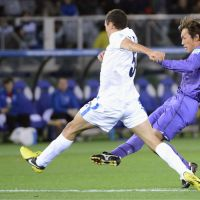 Winning tally: Sanfrecce Hiroshima's Toshihiro Aoyama scores the lone goal of the Club World Cup's opening round match against Auckland City on Thursday in Yokohama. | KYODO