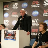 The man with the plan: UFC president Dana White speaks at a postfight news conference on Sunday. White is looking to expand the UFC brand in Japan and throughout Asia. | KAZ NAGATSUKA