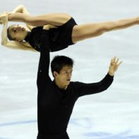 Stellar performance: Narumi Takahashi and Mervin Tran lead the pairs competition after the short program on Friday at the World Team Trophy. | AFP-JIJI