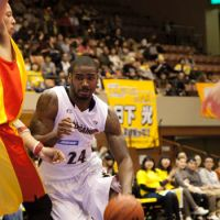 Giant impact: Yokohama B-Corsairs power forward Justin Burrell, the league MVP, started all 52 games for the first-year franchise during the regular season and was the team's top scorer and rebounder.   DOMINIKA FITZGERALD