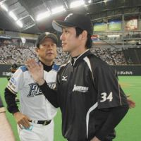 Off and running: Pitcher Mitsuo Yoshikawa has gotten off to a strong start for the Fighters. | KYODO