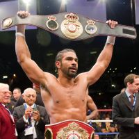 I'm the champ: David Haye lifts his belt after beating Dereck Chisora on Saturday in London. | AFP-JIJI