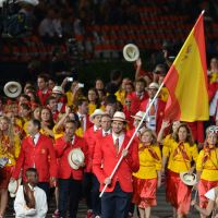 Pride of Spain: NBA star Pau Gasol leads his country's delegation into the stadium at the Opening Ceremony on Friday night. | AFP-JIJI