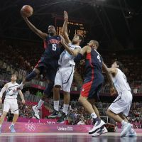 Steady: Kevin Durant of the United States puts up a shot in front of Argentina's Carlos Delfino during their preliminary-round game on Monday. The U.S. won 126-97. | AP