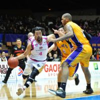 Still playing: Akita Northern Happinets guard Makoto Hasegawa, seen playing against the Tokyo Apache in 2011, was a JBL star before making the jump to the bj-league in 2005. In 1994, Hasegawa earned the JBL MVP award and Rookie of the Year honors. | YOSHIAKI MIURA