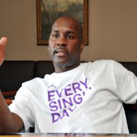 The Glove: Nine-time All-NBA First Team defender Gary Payton, seen during a recent exclusive interview with The Japan Times in Tokyo, is helping lead the push to bring an NBA team back to Seattle after the SuperSonics moved to Oklahoma City in 2008.   YOSHIAKI MIURA