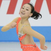Good start: Mao Asada performs in the women's short program at the NHK Trophy on Friday. Mao is in first place with 67.95 points.