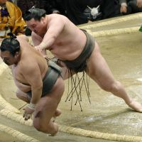 Get out of here: Hakuho dismisses Toyonoshima on the fourth day of the New Year Grand Sumo Tournament. | KYODO