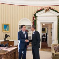 Fleeting glimpse: Mitt Romney shakes hands with President Barack Obama in the Oval Office before lunch Thursday at the White House. | THE WASHINGTON POST