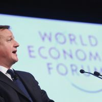 Euroskeptic, moi?: British Prime Minister David Cameron addresses the World Economic Forum in Davos on Thursday. | BLOOMBERG