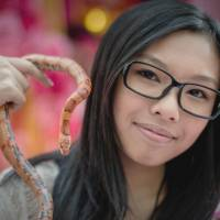 Pet of the year: A woman displays her pet corn snake during an event promoting responsible breeding and pet ownership in Hong Kong on Jan. 10. | AFP-JIJI