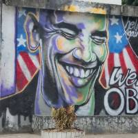 Wall guy: Yangon street art celebrates President Barack Obama's November 2012 visit.