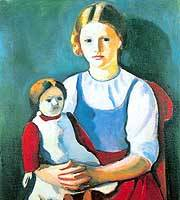'Blonde Girl with Doll' (1910) by August Macke