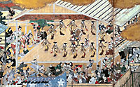 Detail of 'Amusements at the Shijo Riverside' showing the all-female kabuki troupe. | PHOTOS COURTESY OF SEIKADO BUNKO MUSEUM