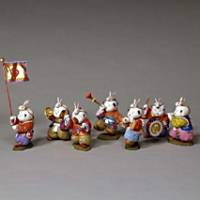 These Gosho Ningyo (court dolls) are part of a musical procession and were made by Oki Heizo V in 1939. Each doll is about 10-20 cm tall.