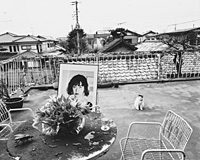 Araki's photo of the mausoleum to his wife Yoko Aoki (d.1990) on his balcony in Gotokuji, Tokyo, from the series 'In Ruins' (1997); bottom: a Yoko look-alike from the series 'Novel Photography' (1996)