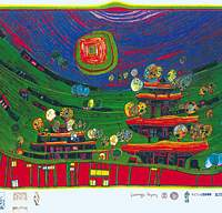 Hundertwasser's 1971 'The Houses are Hanging underneath the Meadows' (top); 1980's 'Plant Trees -- Avert Nuclear Peril' | (c) 2006 HUNDERTWASSER ARCHIVE