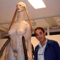 Katsura Funakoshi next to his new work 'The Sphinx Floats in Forest' | C.B. LIDDELL PHOTO