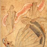 Tortoise with fish painting (19th century), part of eight screen panels displayed on 60th birthday celebrations | COURTESY OF JAPAN FOLK CRAFTS MUSEUM