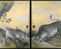 Edo-Period painter Maruyama Okyo's 'Tigers' (1787), from the Kotohira Shrine in Shikoku, is now on show at The University Art Museum in Ueno Park.   IMAGES COURTESY OF THE KOTOHIRA SHRINE