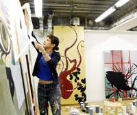 Marina Kappos working on her resident project for Tokyo Wonder Site in the gallery's studio in Aoyama, Tokyo.   © KEN KATO