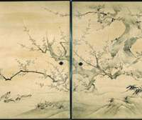 The national treasure 'Birds and Flowers,' which Kano Eitoku painted for the abbot's quarters of Jukoin Temple in Kyoto. | COURTESY OF KYOTO NATIONAL MUSEUM