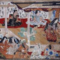 Detail of the Important Art Object 'Kabuki Performance by the Actress Okuni' Handscroll, (Early 17th Century)   THE MUSEUM YAMATO BUNKAKAN