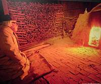 The 96-year-old Miwa (above at his kiln) is famous for his Oni-Hagi -- Devil --  tea bowls (bottom).